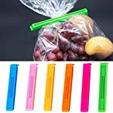 #6: 18Pc 2 Different Size Plastic Food Snack Bag Pouch Clip Sealer for Keeping Food Fresh for Home Kitchen Camping (Multi Color)