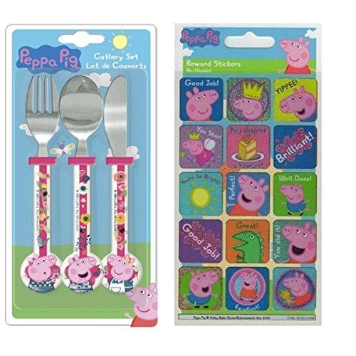 Peppa Pig - Juego de cubiertos para niños (incluye pegatinas de recompensas para regalo, de 3 a 4 años)