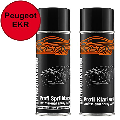 TRISTARcolor Autolack Spraydosen Set Peugeot EKR Rouge Ecarlate Basislack Klarlack Sprühdose 400ml