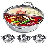 Hot Pot Kocher, Asixx Kochtöpfe aus Edelstahl 2 Raster für Induktionskocher, Gasofen, elektrischer Ofen, Keramischer Gewindebohrer(31CM)