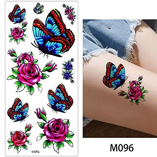 adgkitb 4 Stück Blatt Rose Blume Tattoo Schmetterling Armband Kette Hinterbein Kunst Tattoo Aufkleber M096 19x9cm -