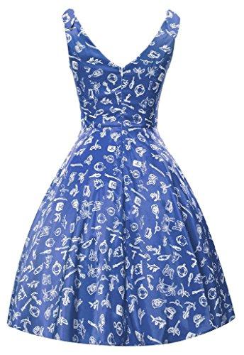 Eyekepper Robe cocktail Femme / Mademoiselle - Vintage sans manche motif dessin party fete Bleu