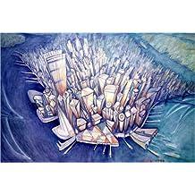 Stampa su legno 90 x 60 cm: Manhattan from Above, 1994 di Charlotte Johnson Wahl / Bridgeman Images
