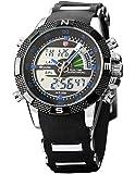 Shark Dual LCD Digital Armbanduhr Herrenuhr Quarzuhr Sportuhr Datum Uhr