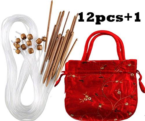 Fall von verkohlten Bambus Crochet afghanischen tunesischen Häkelnadeln Set mit Kunststoff Kabel Bambus Häkeln Stricknadeln Haken Kit Garn Stricknadeln Set Schal Decke Garment 12Größen