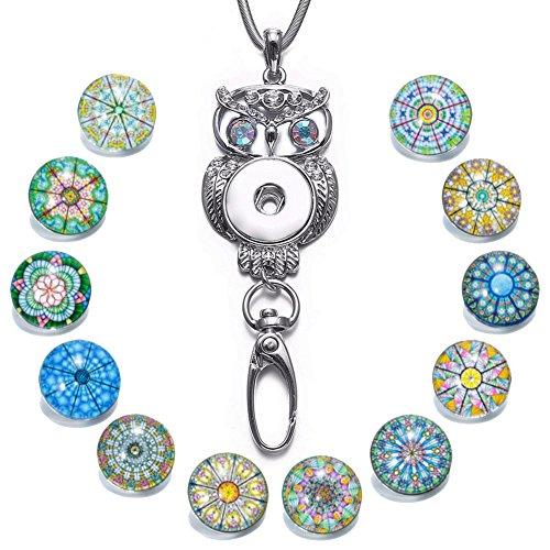 Soleebee 80cm Edelstahl Kette ID Kartenhalter Lanyard Click Button Halskette Passend Schlüssel, ID Abzeichenhalter mit 12 Stück Symmetrische Exotische Glas Click Button (Bunte Augen Eule) - Exotische Augen