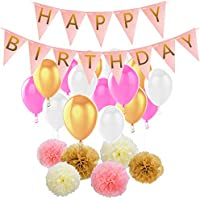 HusDow Birthday Decorations Pack, Happy Birthday Decorations White Garland with Tissue Pom Poms and Latex Party Balloons