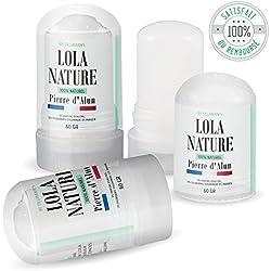 Pierre d'Alun Lola Nature - 3 sticks Déodorant de 60gr - 100% naturel - Sans paraben ni chlorhydrate d'aluminium/Efficace contre les coupures du rasage