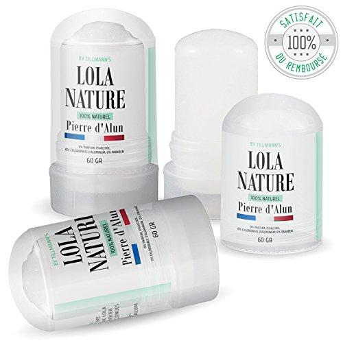 Pierre d'Alun Lola Nature - 3 sticks Déodorant de 60gr - 100% naturel - Sans paraben ni chlorhydrate d'aluminium/Efficace contre les coupures du rasag