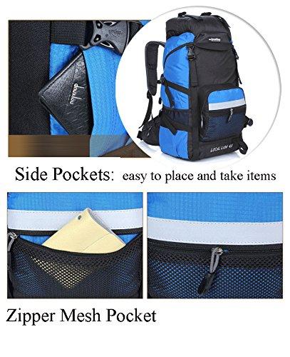 Cuckoo 45L Unisex Wasserdicht Outdoor Camping Rucksack Wandern Daypacks Bergsteigen Tasche mit Regenh¨¹lle Schwarz