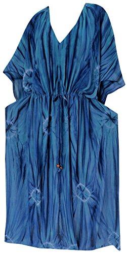La Leela concepteur de rayonne plage robe caftan nuit de profondes cou femmes portent longue robe caftan Bleu