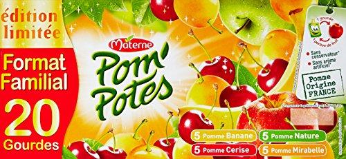 Pom'Potes Spécialités de Fruits Pomme Banane/Pomme/Pomme Cerise/Pomme Mirabelle 20 x 90 g - Lot de 4