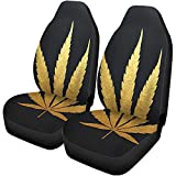 Set of 2 Car Seat Covers Gold Cannabis Leaf Plant Silhouette Black Medical Marijuana Indica Universal Auto Front Seats Protector Fits for Car,SUV Sedan,Truck