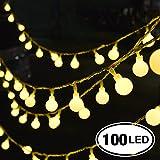 Catena Luminosa, Chenci® 100 LED Ghirlanda 14m per Festa/ Matrimonio/ Giardino/ Natale/ Impermeabile IP44 Interno ed Esterno 8 Modalità Flash con Adattatore【Classe di Efficienza Energetica A++】