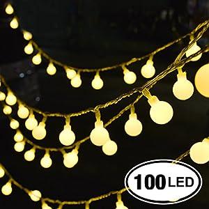 Catena Luminosa, Chenci® 100 LED Ghirlanda 14m per Festa/ Matrimonio/ Giardino/ Natale/ Impermeabile IP44 Interno ed Esterno 8 Modalità Flash con Adattatore【Classe di Efficienza Energetica A+++】