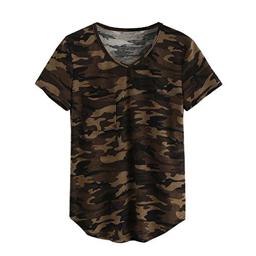 HCFKJ 2017 Mode Damen Camouflage Print Lose Short Sleeve V Neck Bluse Casual Tops T-Shirt (L)