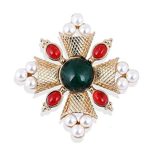 DJDG Broschen Barock-Stil Perle Rot Grün Harz Brosche Pin Brosche Pin Bedeckt Schal Schal Clip