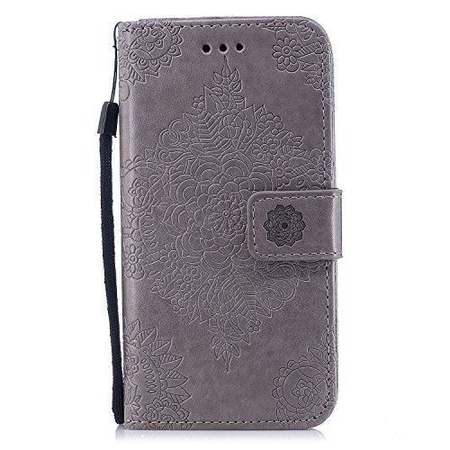 IPhone X Hülle,iPhone 10 Hülle   Cozy Hut Handyhülle Premium Leder Tasche  Flip Case Schutzhülle Für IPhone X, PU Schutz Etui Schale Grau Muster  Design ...
