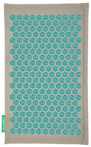 Tapis Fleur Champ de Fleurs - Naturel-Turquoise