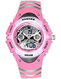 JewelryWe Relojes para Niños Niñas Analógico Digital Reloj Deportivo Para Aire Libre, Reloj Infantil Rosa, 3ATM A Prueba de Agua Buen Regalo 2017