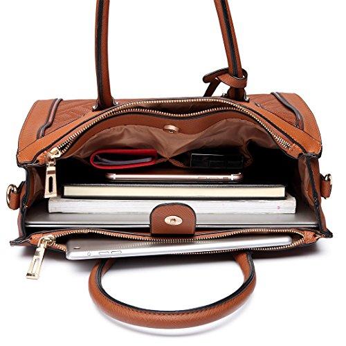 Frauen Faux Leder Handtasche Stilvolle quadratische Tasche Schultertasche (6622 Kaffee) Miss Lulu MbrE4AsLk