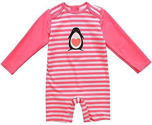 CharmLeaks Baby - Einteiler Langarm Badeanzug für Säugling Kinder mit Pinguin Druck UV-Schutz 50+