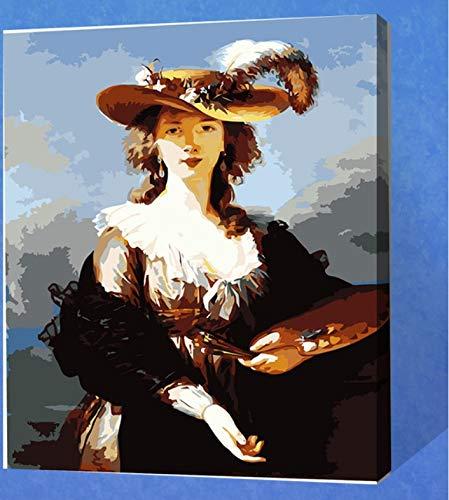 Sin marco Pintura Digital Por Número Mujer Dama Sombrero