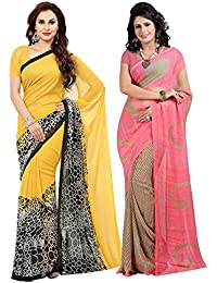 Ishin Combo Of 2 Faux Georgette Yellow & Pink Printed Women's Saree/Sari