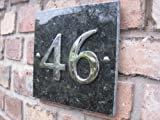 Numbers & Names by Atlantic Hardware Large Emerald Granite & Chrome house number - 1 to 99 available