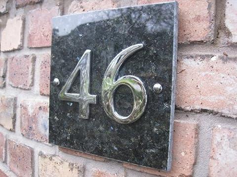 Granite émeraude & Chrome Numéro de maison 1 à 99