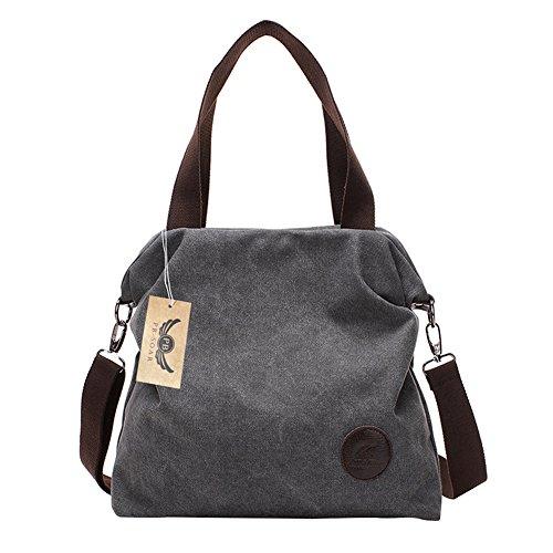 PB-SOAR Damen Canvas Tasche Schultertasche Handtasche Umhängetasche Shopper Beuteltasche 41x36x10cm (B x H x T), 5 Farben auswählbar (Grau) (Canvas Handtasche Fashion)