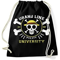35mm - Mochila / Bolsa Grand line Pirate University One Piece, Unisex, NEGRA