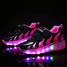 LED Zapatillas Luminosas Seguridad con Sola Ruedas Zapatos Deporte Flash Led Brillante Colorido Skate Zapatos Adulto Niñas