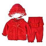 Longra Bébé Filles Vêtements Ensemble Dentelle Cardigan+Longue Pantalon+Chapeau (3M, Rouge)
