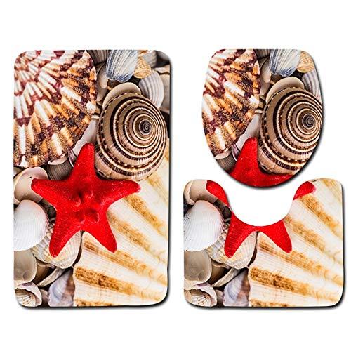 MYSdd 3 stück strandbad Matte Set Strand Starfish Print duschbad Matte Teppich hauptdekoration rutschfeste toilettenabdeckung teppichbodenmatte - 1,45x75cm