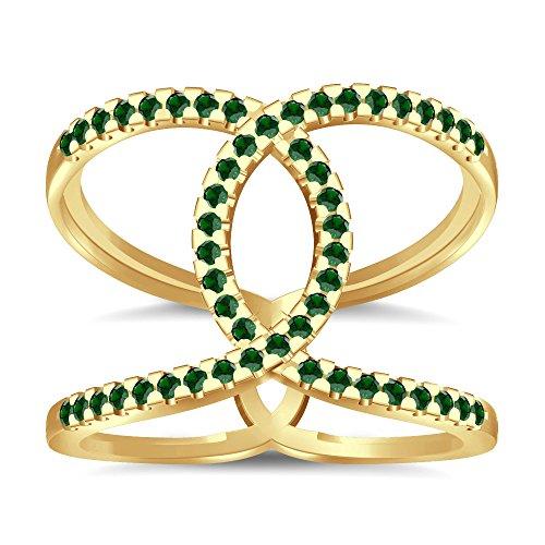 Silvernshine Halo Twist Green Garnet CZ Diamonds Engagement Ring 14k Yellow Gold PL Bridal Ring