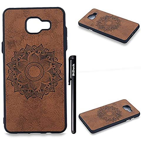 BtDuck Solid Color Case Samsung Galaxy A5 2016 Retro Brown Suitable For Wild Western Dancers Special Girl Embossed Mandala Flower Individuality Tattoo Totem PU Phone Accessories Protector Cover Anti-slip Anti-scratch Skin Outdoor Protection Simple Strict Shockproof Slim-fit Lightweight Shell Hybrid Bumper with Soft Silicone Inner shell Hard PC Plastic Back Cover + 1 * Black Stylus Pen