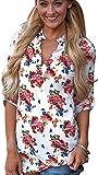 Damen V Ausschnitt Casual Shirts Frauen Druck Muster Bluse Tops (Blume (weiß), XL/EU 44-46)