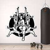 JXTK 57x67cm Vinyl Wand Applikation Karate Schule Samurai Oriental Martial Arts Sport Aufkleber Trainingsraum Karate Pavillon Dekoration