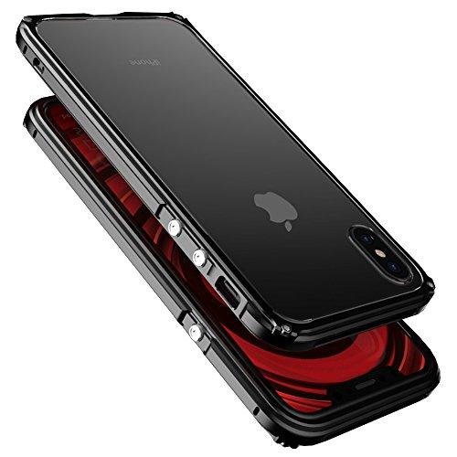 qichenlu [Legend Serie] Schwarz iPhone X Aluminium Bumper Backcover, iPhone X Hülle, Leicht Stoßfest Metall Rahmen + Clear PC Hart Deckel, Mechanisch Stil Handyhülle für iPhone X - Serie Aluminium-rahmen