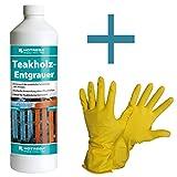 HOTREGA - Teakholz- Entgrauer 1L SET + NITRAS Handschuhe Gr. 10