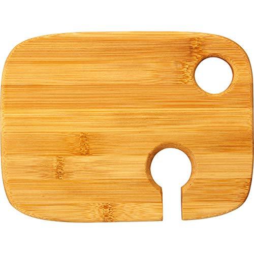 noTrash2003 Vorspeisenplatte aus Bambus-Holz mit Weinglashalterung, kleines Servierbrett für Brotzeit und Snacks