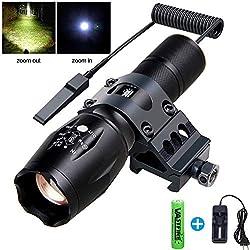 VASTFIRE Lampe Torche Blanche zoomable 500 lumens Mise au Point réglable LED Tactique avec Interrupteur de Pression à Distance (18650 Chargeur de Batterie Rechargeable Inclus)