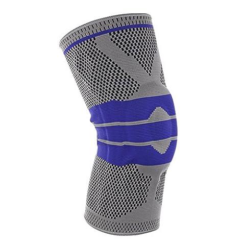 homdsim Elastic Kniebandage Kompression Knie Sleeve Silikon Pad Knieschützer, grau