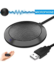 Hfuear USB Microphone,Portable Omnidirectional Condenser Boundary Conference Microphone for Computer PC, Laptop,Desktop,Mac & Macbook, Perfect for Skype, Meeting, Video chatting,VoIP Calls