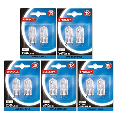 10 x Eveready branded G9 40W Halogen Light Bulbs Clear Capsule Lamps Long Life