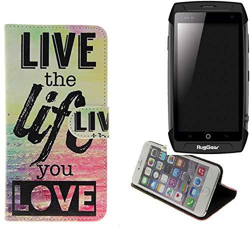 K-S-Trade Für Ruggear RG730 Schutz Hülle 360° Wallet Case ''live Life Love'' Schutzhülle Handy Tasche Handyhülle Etui Smartphone Flip Cover Standfunktion (1x)
