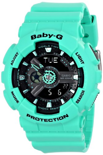 Casio Women's BA-111-3ACR Baby-G Analog-Digital Display Quartz Green Watch