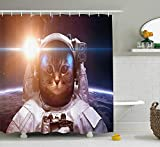 tgyew Space Cat Shower Curtain, Brave Astronaut Kitty in Space Suit Above World with Lunar Eclipse Backdrop, Fabric Bathroom Decor Set with Hooks, 60W X 72L Inche, White And Blue