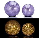 2er SET XL Glaskugeln in Bruchglasoptik mit LED Lichterkette inkl. Timer - In und Outdoor geeignet - Deko Kugeln - LED Beleuchtung (Lila)